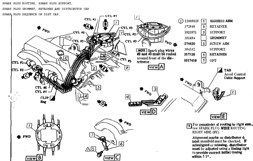 1978 corvette spark plug wire route