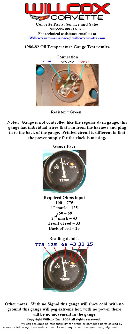 1980-1982 Corvette Oil Temp Gauge Info Page | Willcox