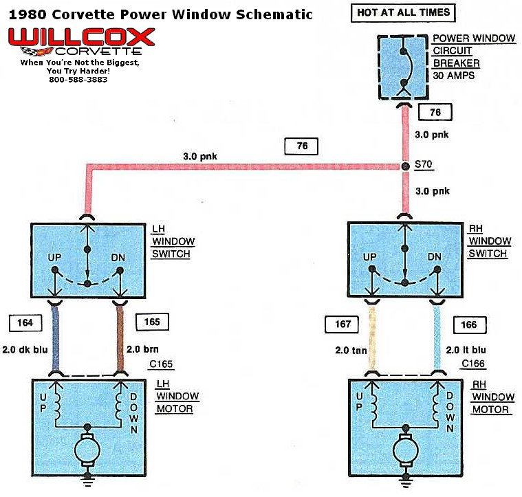 1980 1982 corvette power window schematic willcox corvette inc. Black Bedroom Furniture Sets. Home Design Ideas