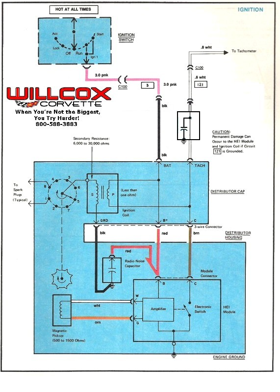 1978 1982 corvette distributor and tach wire willcox corvette inc. Black Bedroom Furniture Sets. Home Design Ideas
