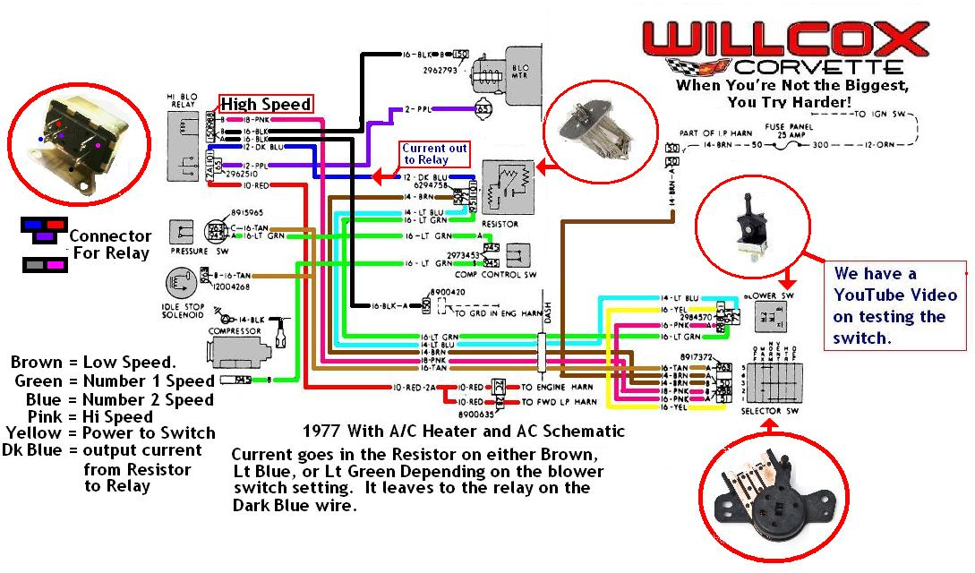 77 heater control wiring schematic 1977 corvette heater and ac schematic willcox corvette, inc 1990 corvette a/c wiring diagram at gsmportal.co