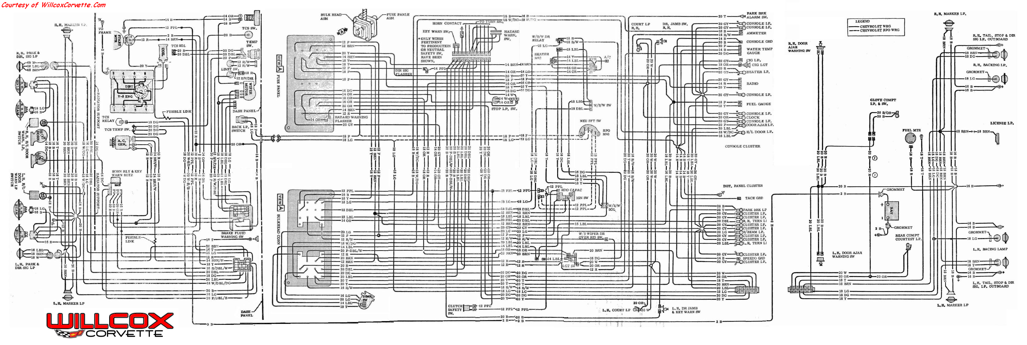 1970 corvette wire schematic tracer willcox corvette inc C3 Corvette Headlight Wiring Diagram