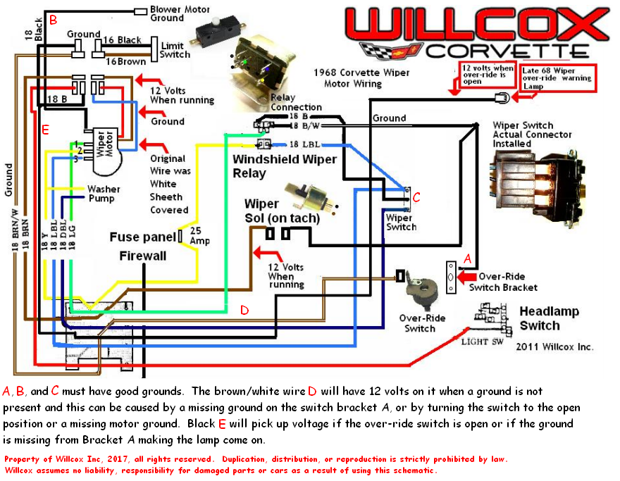 Wiper Motor Wiring Schematic Rev on 1967 Corvette Vacuum Diagram