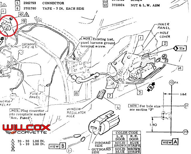 1969 corvette power window breaker locations willcox for Window location