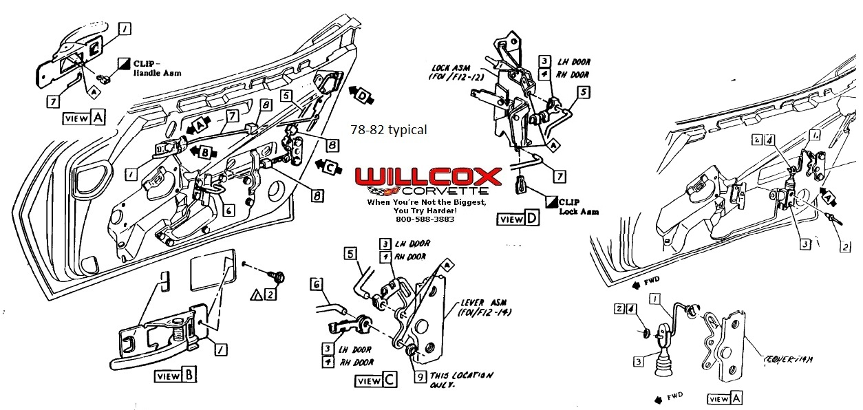 1976 Corvette Door Lock Diagram Corvette Auto Parts