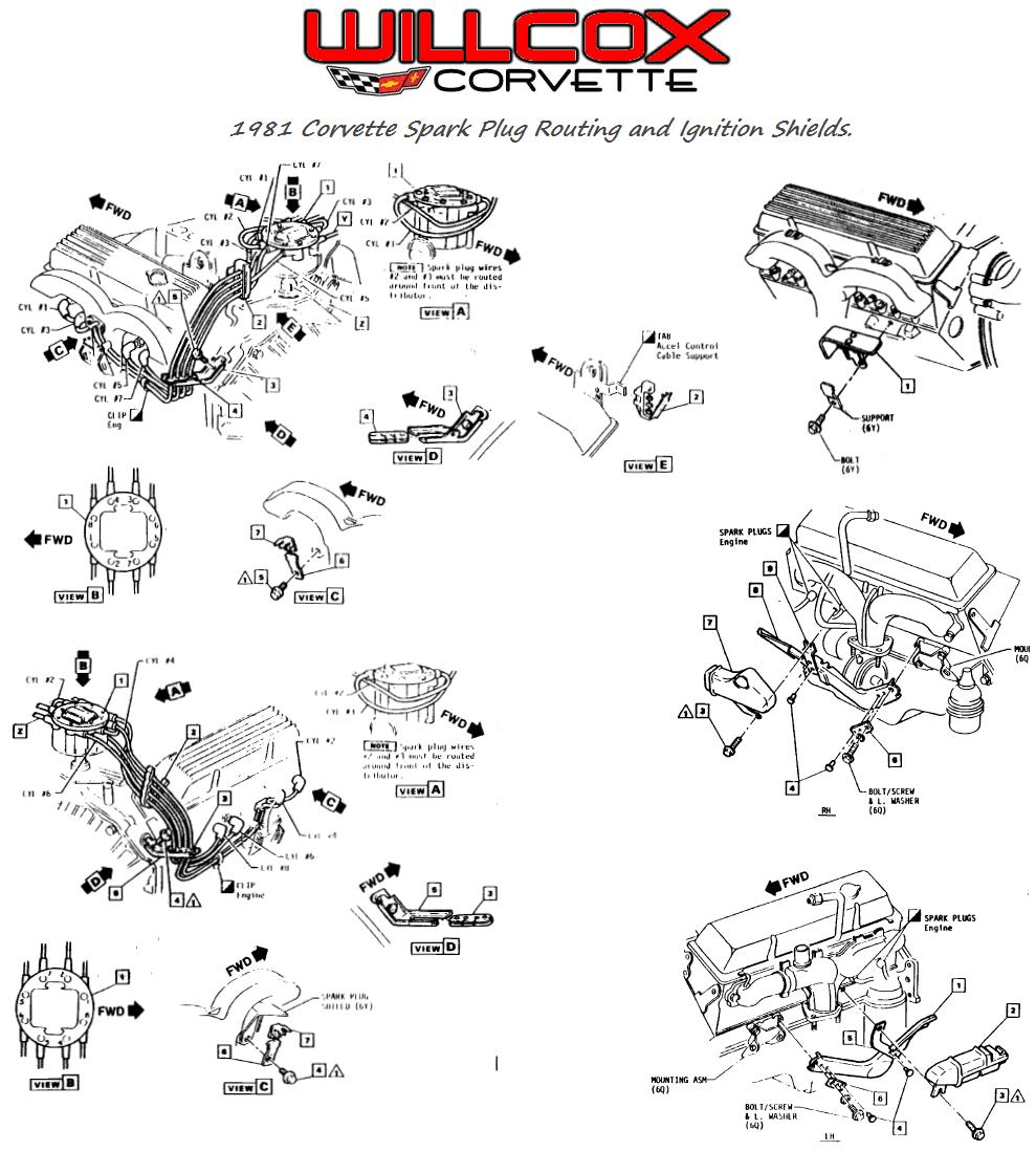 1981 corvette spark plug wire routing and ignition shield ... ford 302 spark plug wiring diagram corvette spark plug wiring diagram #15