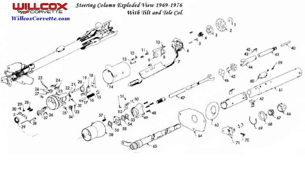 1969 1976 Corvette Steering Column Exploded View on 1970 chevy truck steering column diagram
