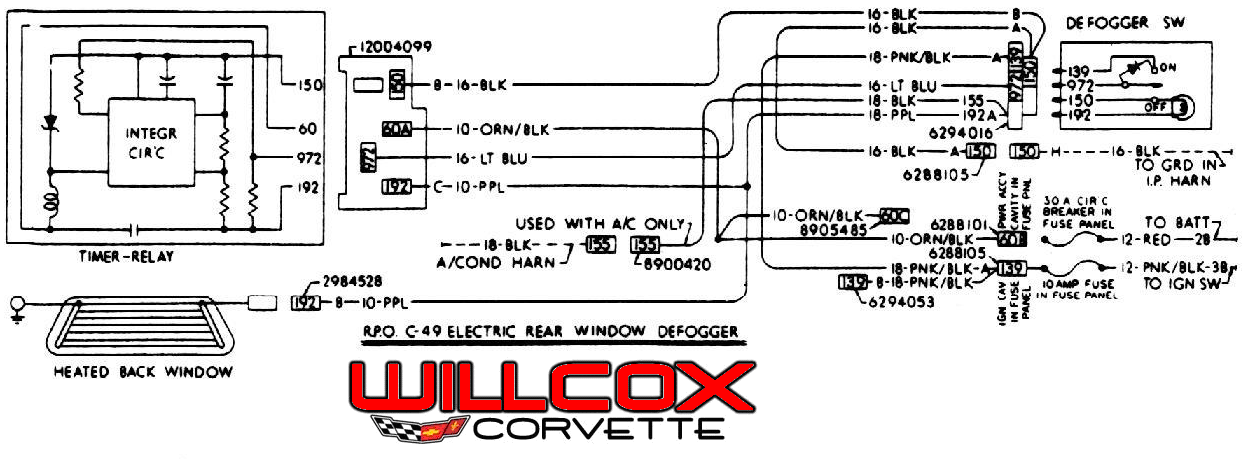 1978 corvette wire schematic rear defrost willcox corvette, inc1978 corvette wire schematic rear defrost