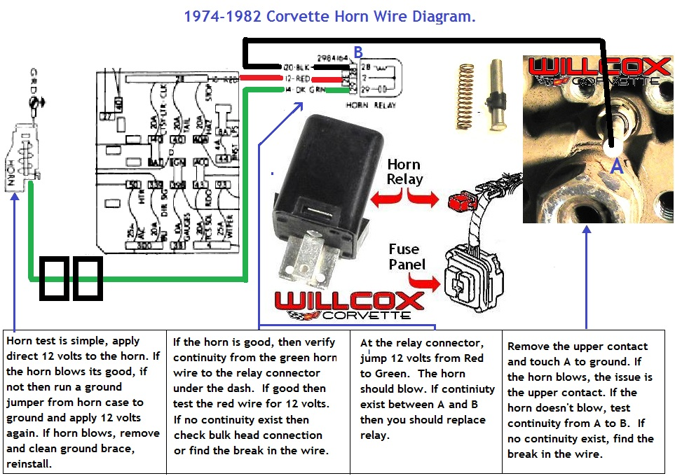 1974-1982 Corvette Horn Circuit Wire Diagram | Willcox Corvette, Inc. g body wiring diagram Willcox Corvette, Inc.