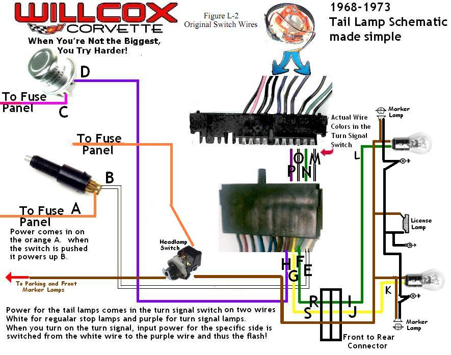 1968 1977 Corvette Wire Schematic 68 77 Tail And Stop Lamp border=