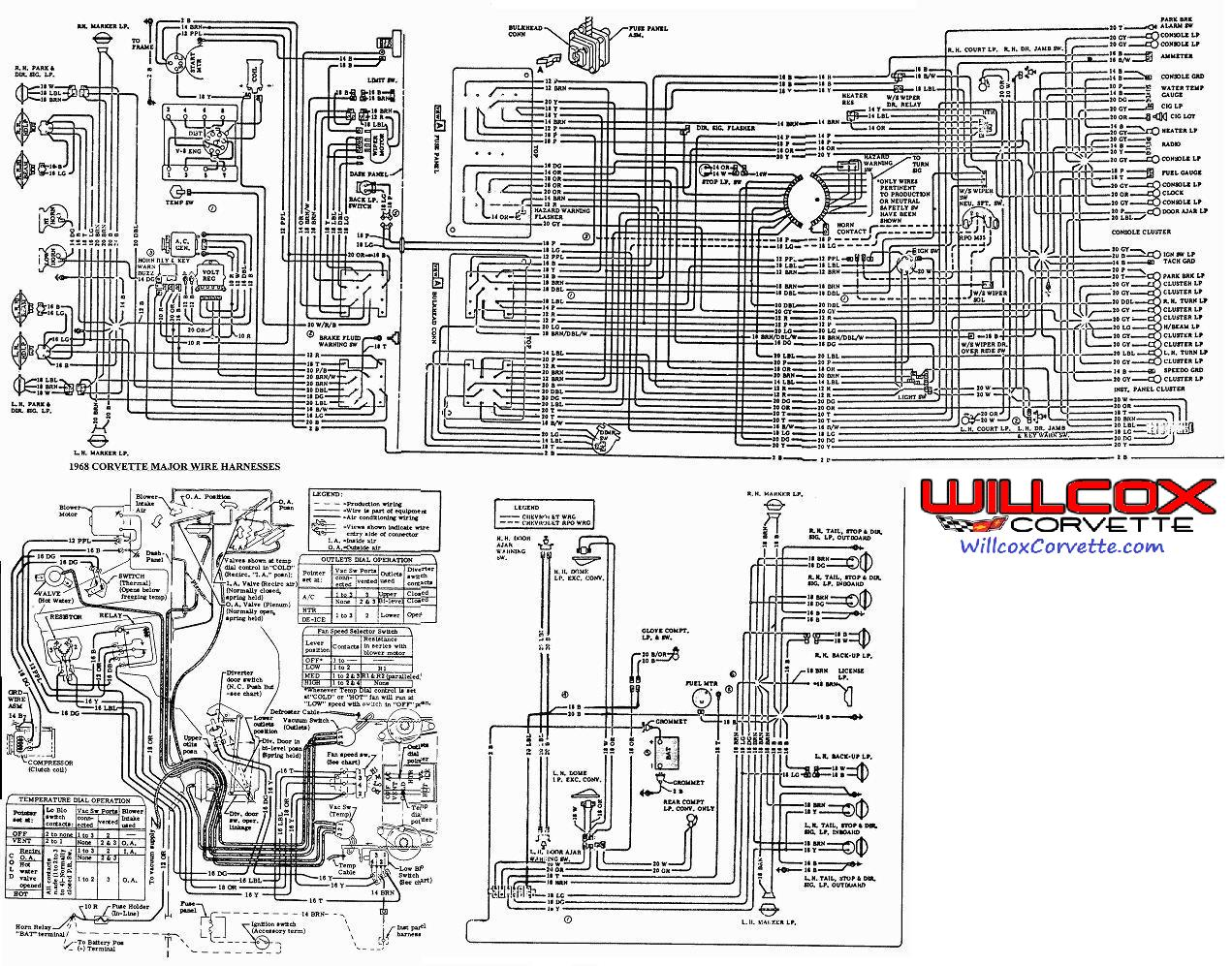 1968 corvette wire schematic 68 corvette from the aim willcox rh repairs willcoxcorvette com corvette wiring schematic laminated 1982 corvette wiring schematic