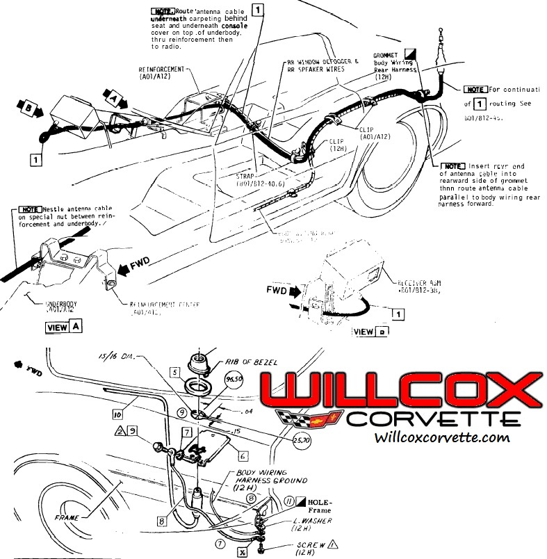 Cable Route Locator : Corvette wiring diagram fuse box