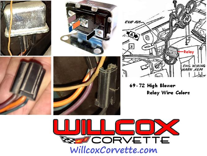 1969 1972 corvette high blower relay wire color and location 69 72 wac 1969 1972 corvette high blower relay wire color and location 69 72 Multi Speed Blower Motor Wiring at n-0.co