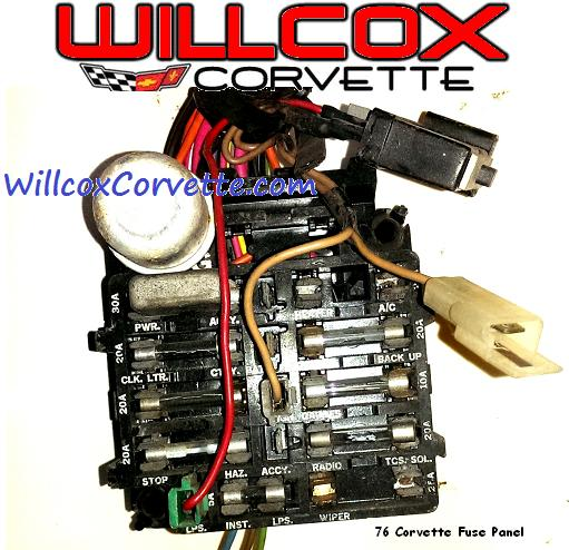 1976 corvette fuse panel | willcox corvette, inc. 77 corvette fuse box 77 corvette fuse box location