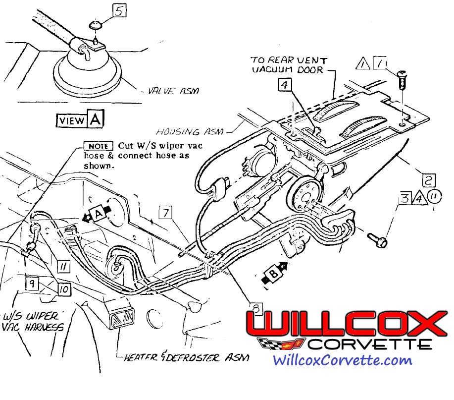 1969 Corvette Heater Control Hose Route 69 No Air on 1966 Corvette Dash Wiring Diagram