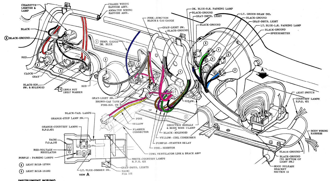 1956-1957 corvette dash harness wiring 56-57 corrected | willcox, Wiring diagram