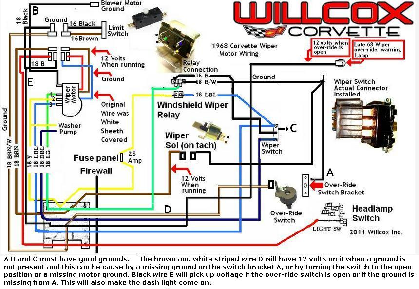1968 corvette wiper motor updated schematic 1968 1968 rev willcox corvette  inc 1969 Camaro Headlight Fuse 91 Camaro Fuse Box Diagram