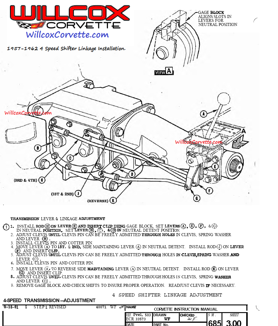 1957 1962 Corvette 4 Speed Shifter Linkage Installation Instructions on 1970 chevy truck steering column diagram