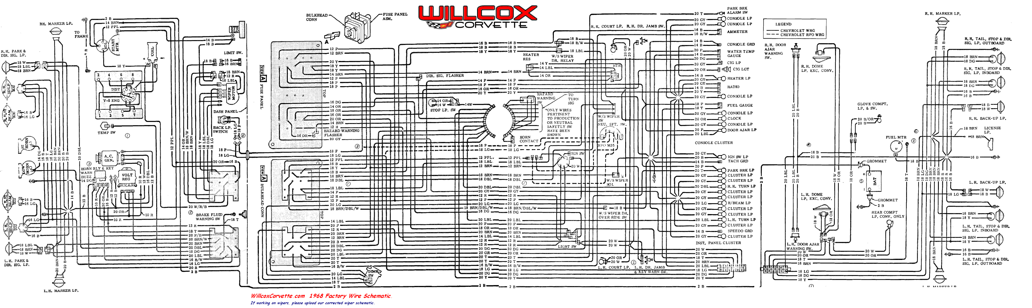 Color Coded Wiring 1958 Corvette Real Diagram Impala 1968 Tracer Schematic Willcox Chevy Paint Colors
