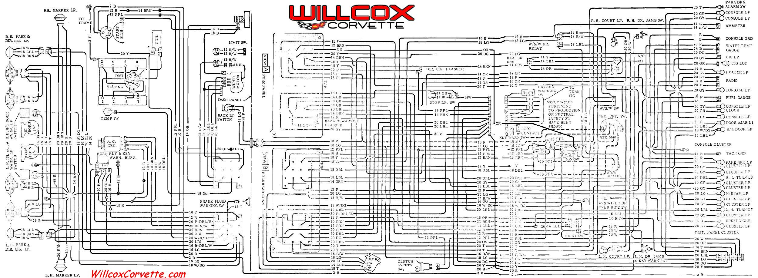 1969 Corvette Wiring Diagram Main And Engine Compartment