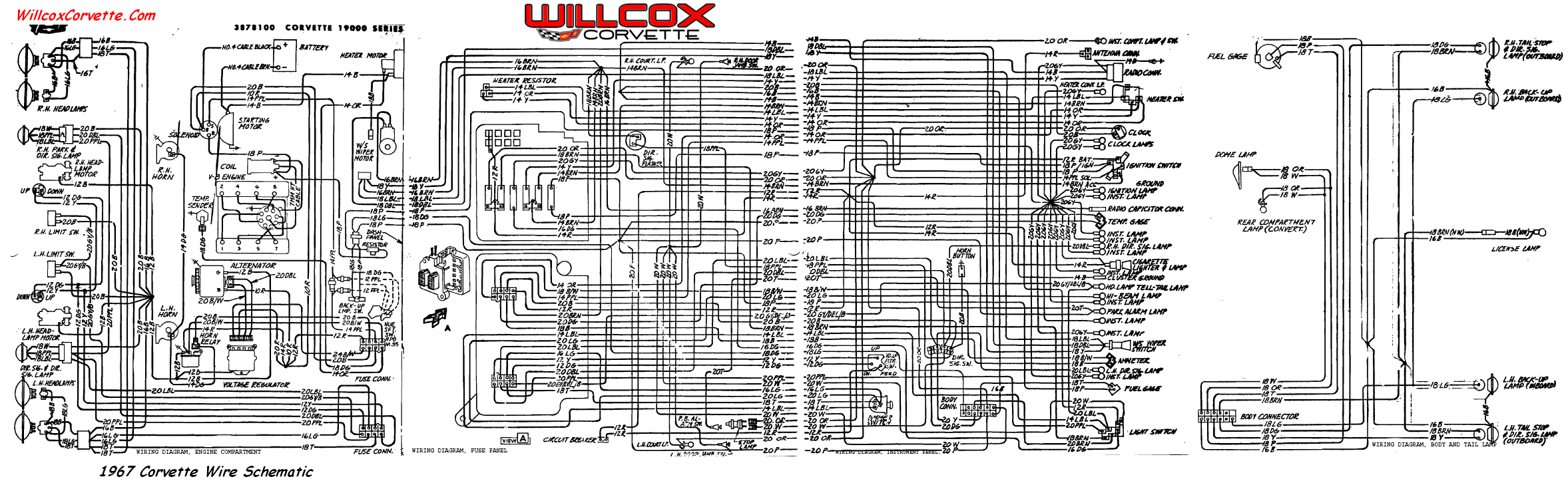 67 wire schematic for tracing wires 1967 corvette wiring diagram (tracer schematic) willcox corvette 2001 corvette wiring diagram at crackthecode.co