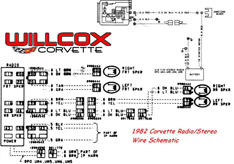 1982 corvette stereo radio wire schematic willcox corvette inc rh repairs willcoxcorvette com 1982 corvette ignition wiring diagram 1982 corvette alternator wiring diagram