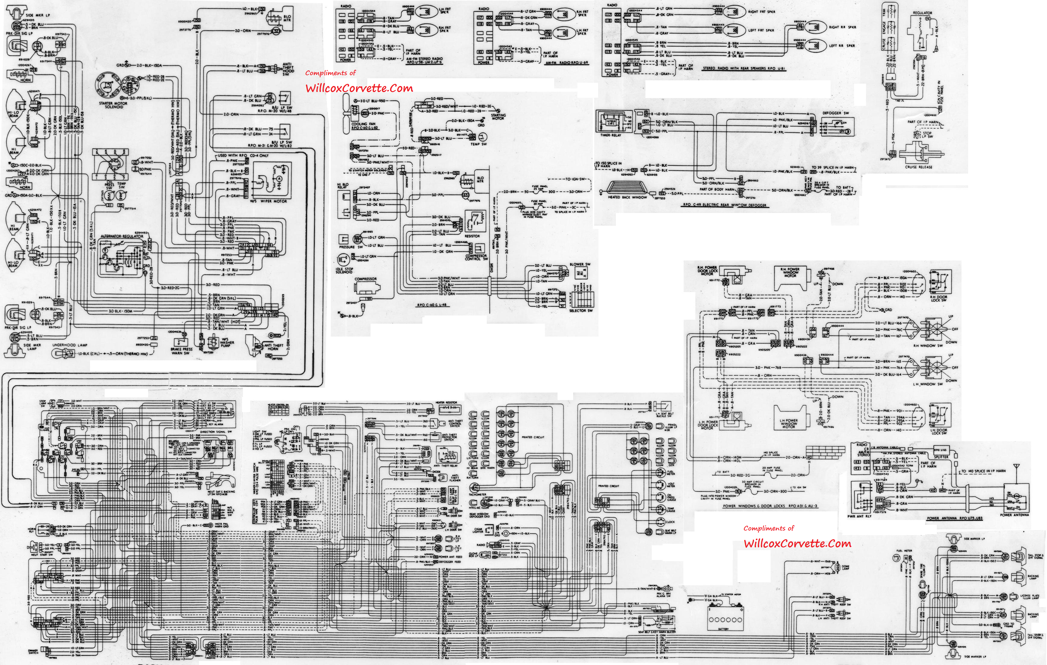 79 COMBINED TRACER SCHEMATIC c3 corvette wiring diagram radio wiring diagram \u2022 wiring diagrams Headlight Relay Harness Schematic at gsmx.co