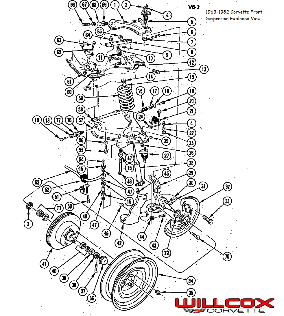 1963 1982 corvette front suspension exploded view willcox corvette 67 Camaro Wiper Wiring Diagram 1963 1982 corvette front suspension exploded view