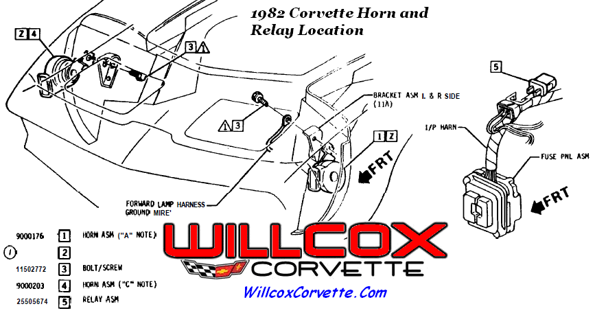 1982 corvette horn and relay location 1982 corvette horn and relay location (1982 only) willcox 77 corvette wiring diagram at reclaimingppi.co