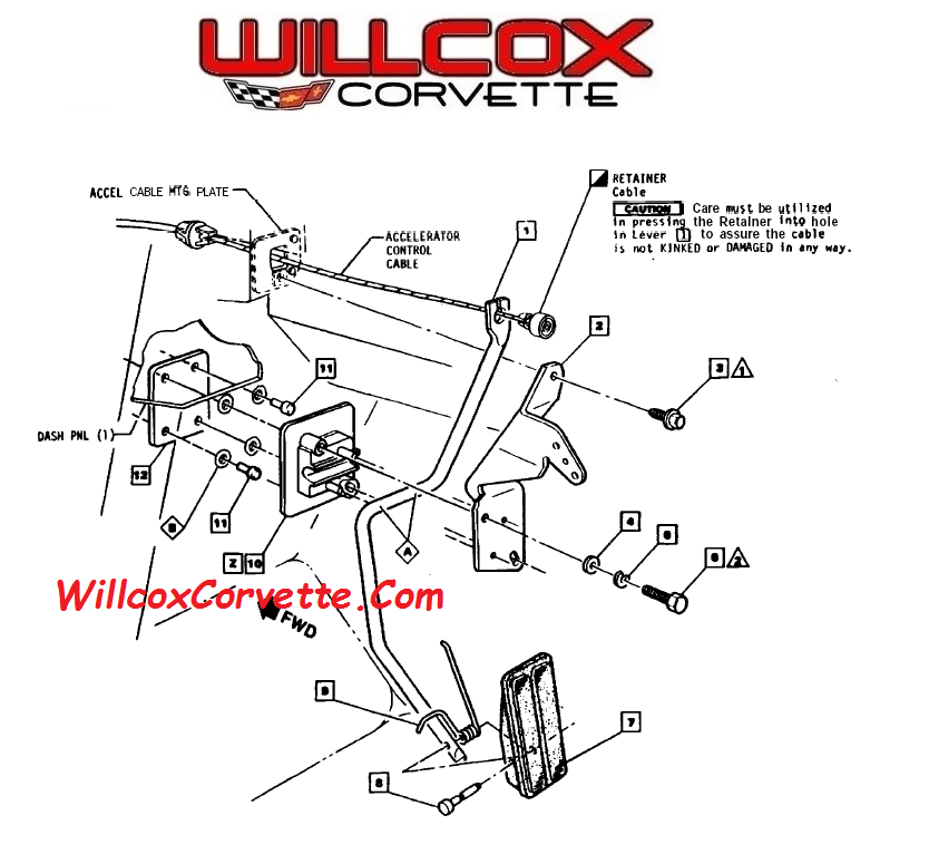 Gas Pedal / Accelerator Cable Mounting 1969-1982 | Willcox Corvette ...