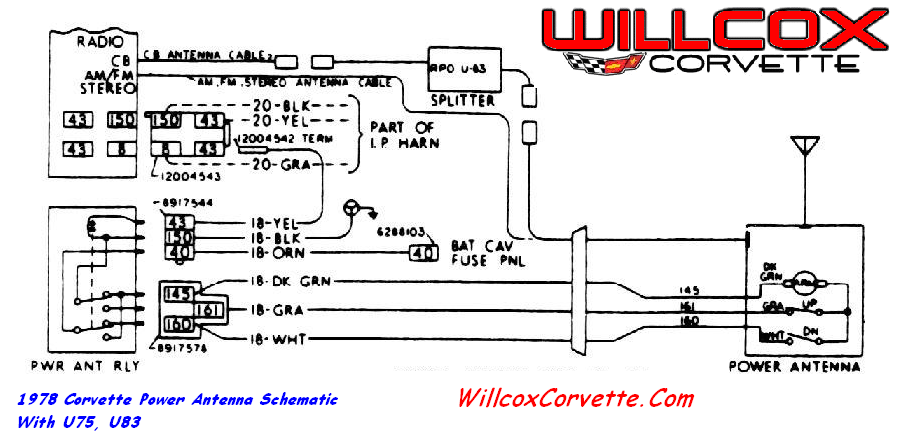 1978 corvette power antenna schematic willcox corvette inc. Black Bedroom Furniture Sets. Home Design Ideas