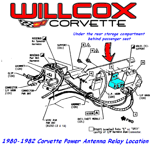 1980 1982 corvette power antenna relay location willcox corvette inc. Black Bedroom Furniture Sets. Home Design Ideas