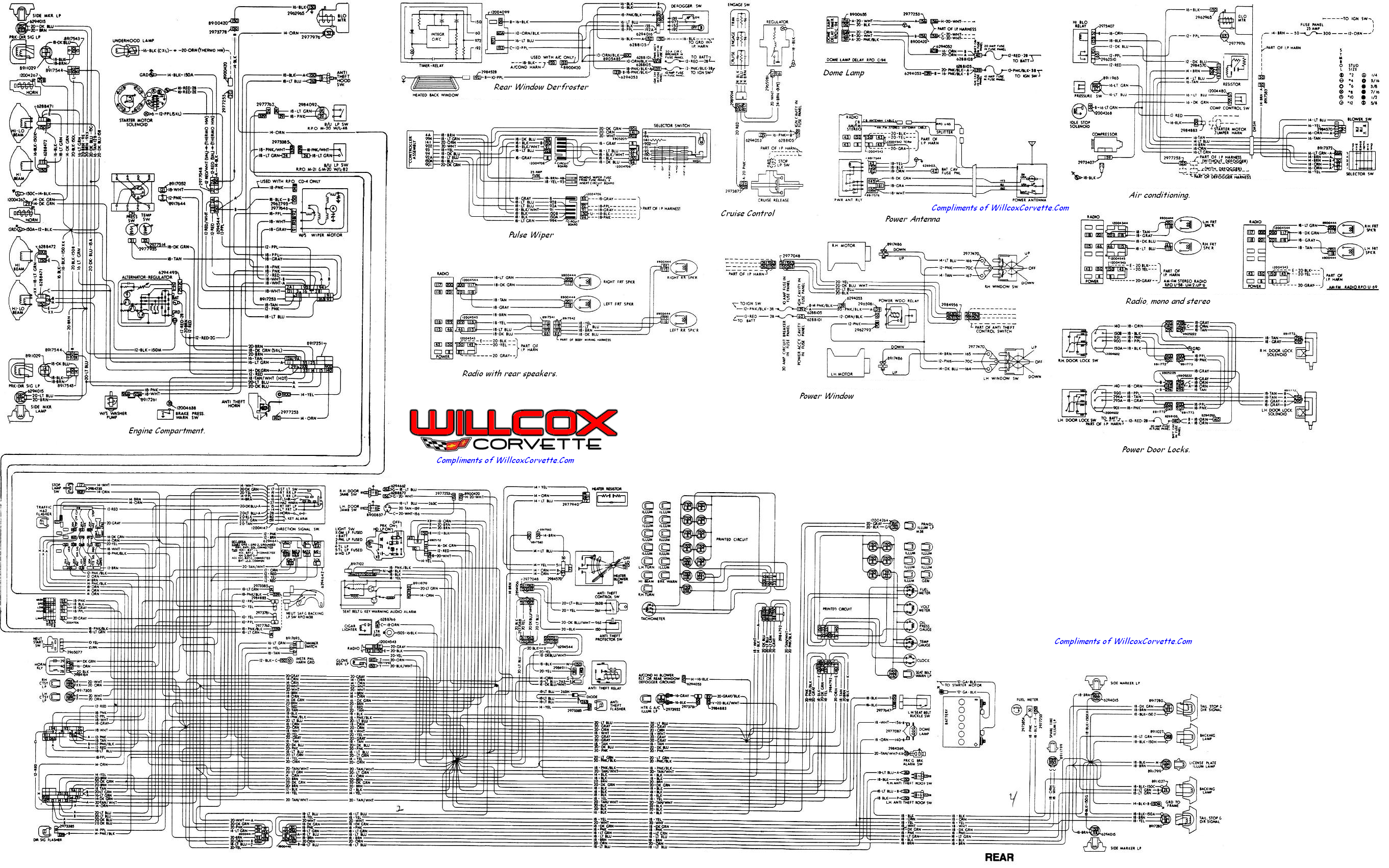 1978 Corvette Tracer Schematic. | Willcox Corvette, Inc.