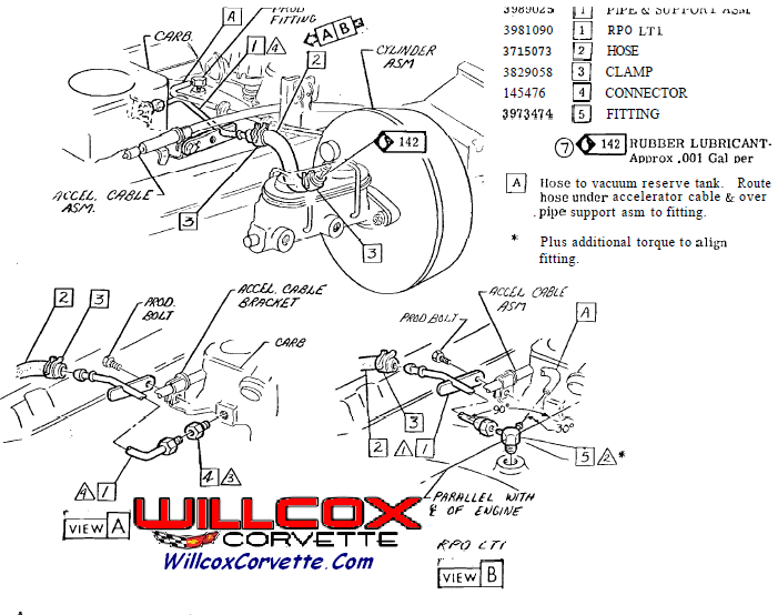 Corvette Vacuum Metal Tube on 1974 Corvette Vacuum Diagram