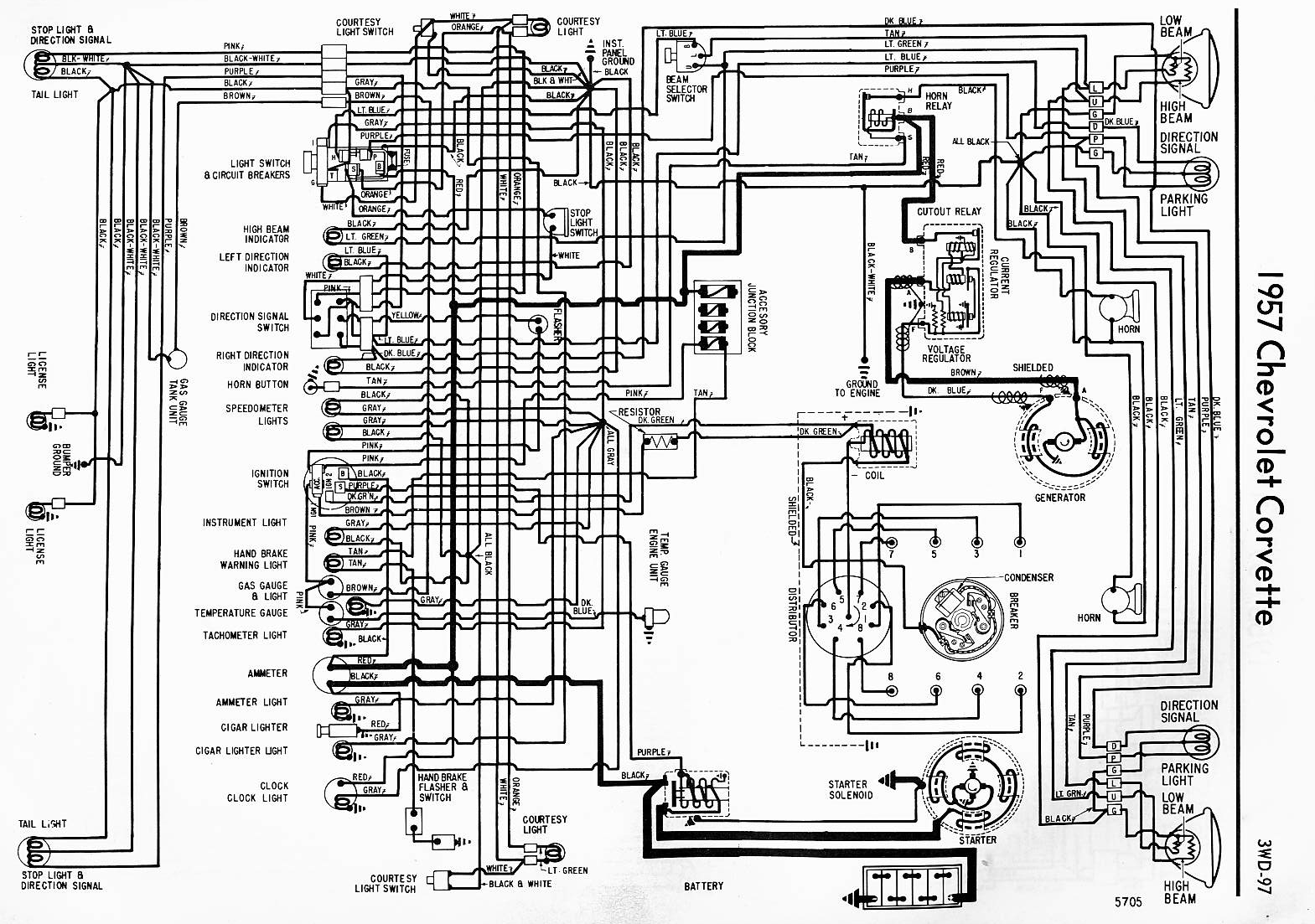 1957 Corvette Wiring Diagram | Willcox Corvette, Inc. on corvette vacuum diagram, corvette fuel system diagram, corvette frame diagram, corvette radiator, corvette parts diagram, corvette electrical diagrams, corvette horn diagram, corvette engine diagram, corvette transmission diagram, corvette horn wiring, corvette drivetrain diagram, 1974 corvette fuse box diagram, corvette starter wiring, corvette car diagram, lighting diagram, corvette cover, corvette schematics diagrams, corvette alternator wiring, corvette drive shaft, corvette fuse panel diagram,