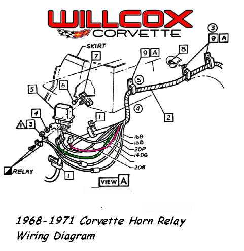 1968 1971 corvette horn relay wiring diagram willcox corvette inc rh repairs willcoxcorvette com Horn Electrical Wiring Installation GM Horn Wiring Diagram