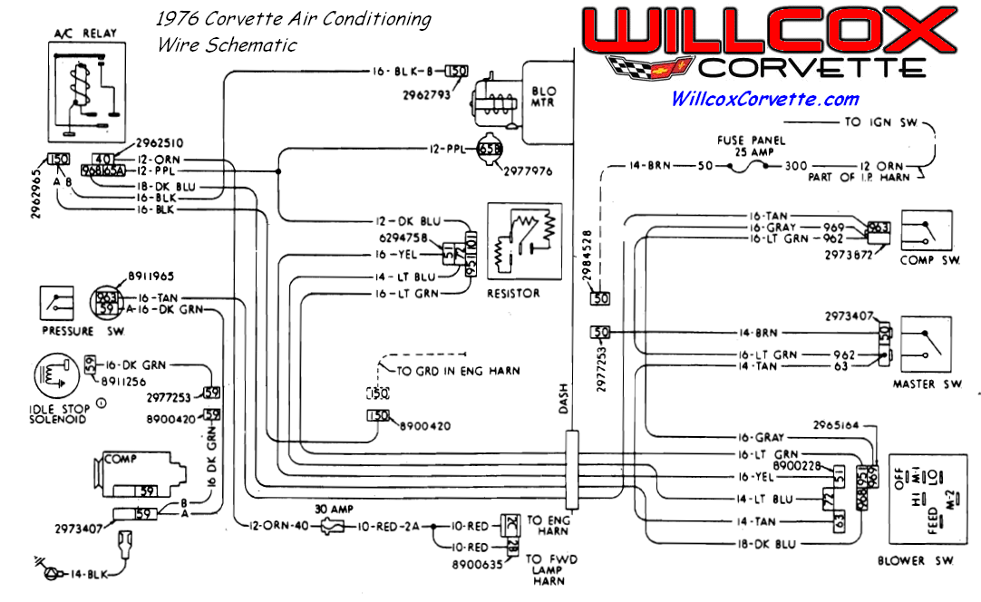 1976 corvette air conditioning wire schematic willcox corvette inc rh repairs willcoxcorvette com 1969 Corvette Radio Wiring Diagram 1978 Corvette Wiring Diagram