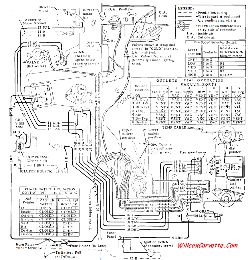 1969-Corvette-Heater-and-AC vacuum and electrical schematic