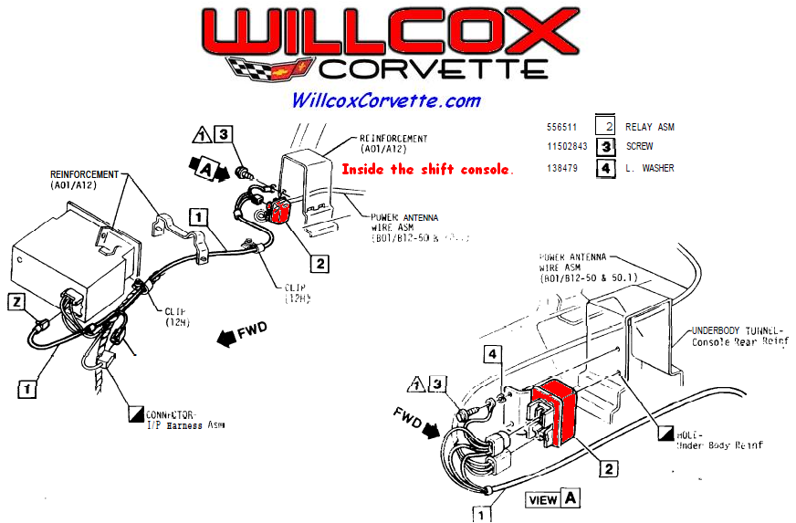 1978 1979 corvette power antenna relay location willcox corvette, inc corvette repair & install help 1982 corvette power antenna wiring diagram at bakdesigns.co