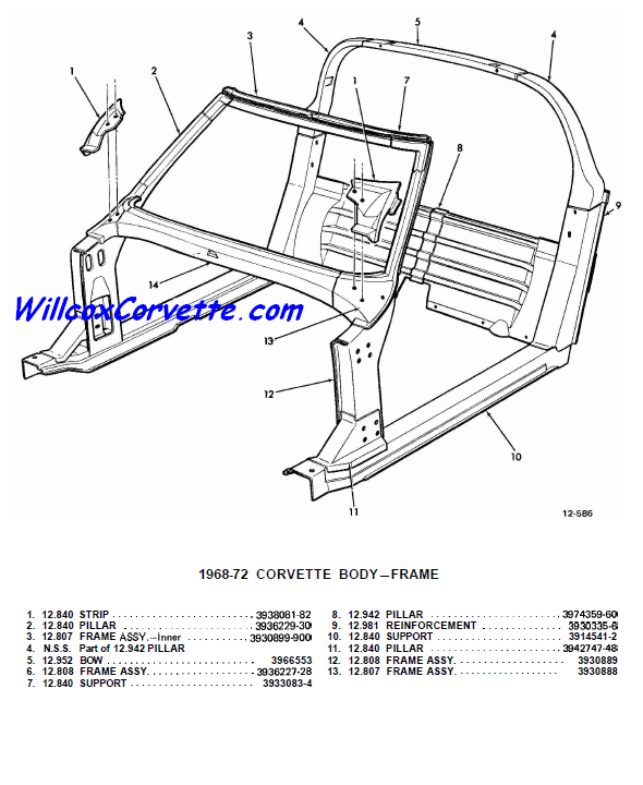 1968-1982 Windshield Frame Birdcage Exploded View | Willcox
