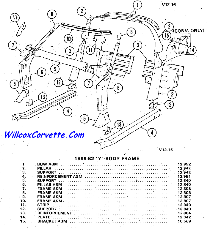 1968-1982 Windshield Frame Birdcage Exploded View | Willcox Corvette ...