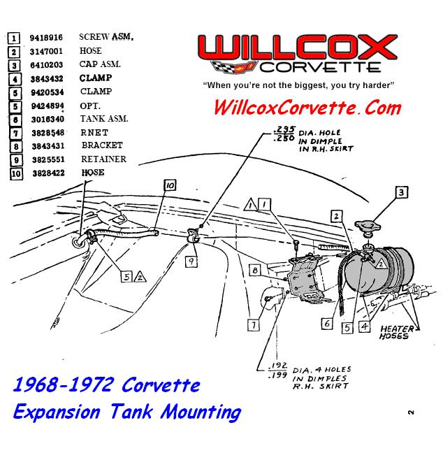 1968-1972 corvette overflow (puke) tank mounting  category: engine  compartment